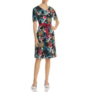 Basler Summer Nights Floral V-neck Dress